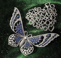 FROM LEFT: Platinum butterfly brooch with sapphires and diamonds, Tiffany & Co. ($85,000). Via Bellagio, 702-697-5400. Infinite Love brooch in 18k white gold with diamonds, Gumuchian ($9,600). Radiance, Aria Resort & Casino, 702-590-8725 Read more at http://vegasmagazine.com/galleries/jewelry-story-summer#HCs6KxSahkVbGKKt.99