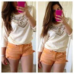 'Free People' Citrus Frayed Denim Shorts Colored denim frayed shorts by Free People. Brand new w/o tag but never worn. Perfect condition.No Paypal. No trades. No offers will be considered unless you use the make me an offer feature.     Please follow  Instagram: BossyJoc3y  Blog: www.bossyjocey.blogspot.com  Twitter: RealBossyJocey Free People Jeans