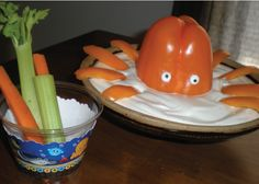"Creatively display this Octopus Dip and guests will think they're ""sea-ing"" things! Made using two bright orange bell peppers, some vegetable dip and two candy eyes, this ""Octopus Dip"" is the perfect addition to an Under the Sea Critters birthday party – and it's so simple! #BigDot  #HappyDot  #seababyshower  #seabirthday"