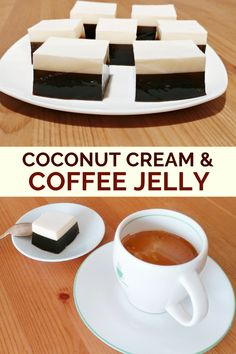 A multi-layer coffee jelly recipe that combines a layer of coffee gelatin and a layer of coconut cream for a light and refreshing dessert. Gelatin Recipes, Jello Recipes, Best Dessert Recipes, Sweet Recipes, Cake Recipes, Keto Coffee Recipe, Coffee Recipes, Asian Desserts, Köstliche Desserts