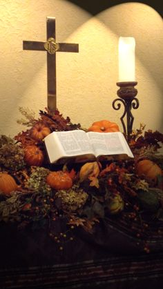 Thanksgiving altar for with fall decorations. By Party with Pizzazz.