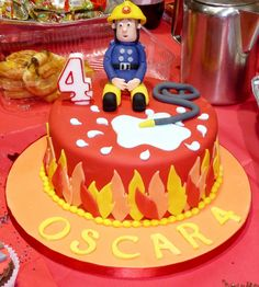 firefighter-birthday-fireman-sam-kids birthday Pie You are in the right place about Birthday Cake drawing Here we offer you the most beautiful pictures about the pretty Birthday Cake you are looking f Fireman Sam Birthday Cake, Fireman Sam Cake, Fireman Party, Firefighter Birthday, Birthday Pies, Cake Birthday, Happy Birthday, Fire Fighter Cake, Cakes For Boys