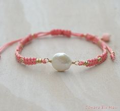 inspiration.........Beachy Summer Coin Pearl Macrame Friendship Bracelet