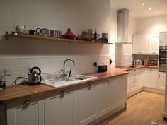 Kitchen - timeless dulux, subway tiles, oak worktops, ceramic sink