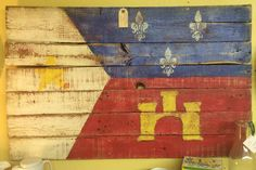 Acadian Flag Sign made from old pallet wood. Southern Honey Hole
