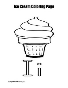 This printable ice cream cone and letter i coloring page provides an easy sponge activity for a related theme unit. Those searching for a pdf download to print and use immediately will find this resource helpful.