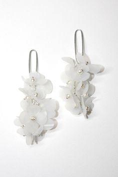 Sterling Silver Cluster Earrings White Flower by EnnaJewellery