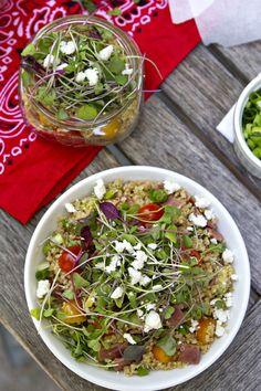 bacon, lettuce, tomato and avocado quinoa salad. perfect for summer! bacon, lettuce, tomato and avoc Best Quinoa Recipes, Quinoa Salad Recipes, Healthy Recipes, Quinoa Food, Veggie Recipes, Healthy Meals, Clean Eating, Healthy Eating, Avocado Quinoa