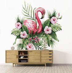 FLAMINGO MURAL, watercolor flamingo mural art wall, flamingo with tropical flowers wall mural, flamingo wallpaper mural, floral wall mural Flamingo Wallpaper, Home Wallpaper, Wallpaper Stickers, Living Room Murals, Cheap Wall Art, Shed Interior, Room Decor, Wall Decor, Mural Wall Art