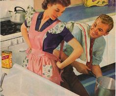 50s housewife and hubby clip art