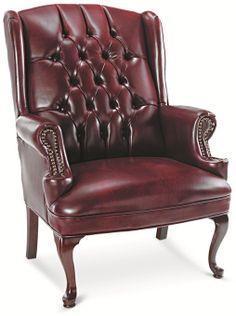 Alera® Traditional Series Wing-Back Arm Chair - Mahogany Finish/Oxblood Vinyl, ALECE42VY31MY by US by US | BizChair.com