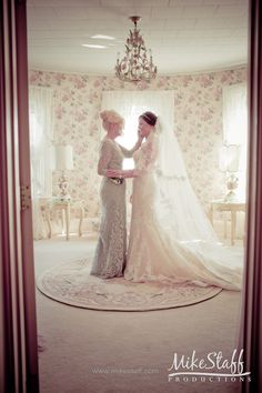 Mother and bride in pink floral room  #Michiganwedding #Chicagowedding…