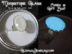 Silver Plated Twilight Moonstone Glass Glow Ring. Starting at $1 on Tophatter.com!