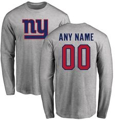 New York Giants Pro Line Personalized Name & Number Logo Long Sleeve T-Shirt - Ash - $42.99