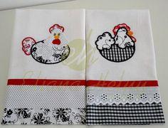 Pano de prato/Dishcloth Pano de prato com aplique de tecido e bordado. Dish towel with appliqué tissue and embroidery.