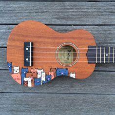 Crazy Cat Lady Ukulele, perfect for all cat loving ukulele players! Original, hand illustrated cats together on a ukulele guaranteed to impress :)