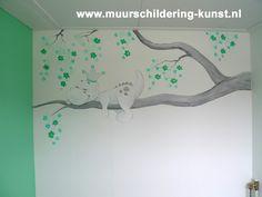 muurschildering draakje babykamer