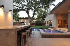 barra de hormigón en la terraza moderna
