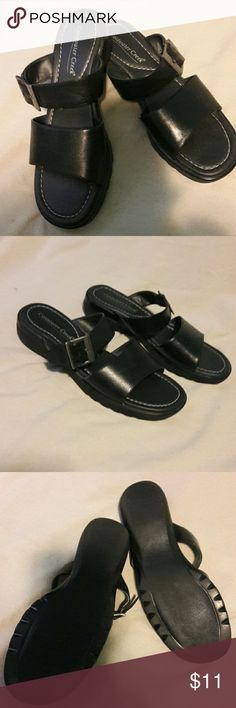 LEATHER SANDALS BLACK LEATHER SANDAL. LIKE NEW. NO SCRATCHES OR MARKS. Heal is 1.5 in. Coldwater Creek Shoes Sandals