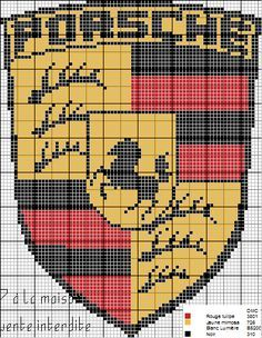 Porsche logo x-stitch Pixel Art Logo, Lamborghini Logo, Logo Porsche, Pixel Art Templates, Peler Beads, Beading Tools, Quilted Gifts, Minecraft Pixel Art, Mini Cross Stitch