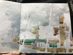 Urban Sketching Example - Step 3 in a pencil sketch through a series of washes sequence.
