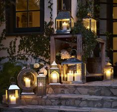 Modern yard lights could add arresting center pieces to yard highlight or landscaping your lovely yard designs. The voice of waters flowing into the pond feels very romantic and mysterious. Garden Lighting Lanterns, Garden Candles, Outdoor Candles, Backyard Lighting, Outdoor Lighting, Pathway Lighting, Lighting Ideas, Outdoor Topiary, Small Garden Lights