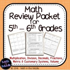 Need a summer math packet for students going from 5th - 6th grade? This one has detailed explanations and worked out examples for each topic in addition to 100 practice problems!