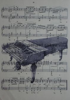 Piano vintage music book page print sheet music art by 2PurpleCats, $8.00