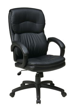 Office Star Work Smart EC9230-EC3 High Back Black Eco Leather Executive Chair with Padded Arms