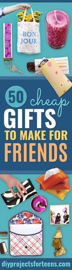 Cheap DIY Gifts and Inexpensive Homemade Christmas Gift Ideas for People on A Budget - To Make These Cool Presents Instead of Buying for the Holidays - Easy and Low Cost Gifts fTo Make For Friends and Neighbors - Quick Dollar Store Crafts and Projects for Diy Christmas Gifts For Friends, Homemade Christmas Gifts, Homemade Gifts, Christmas Diy, Christmas Presents, Christmas Desserts, Handmade Christmas, Cheap Presents, Diy Gifts Cheap