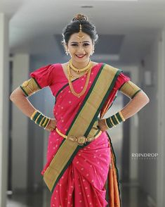 Just can't take eyes off from this Bold and Beautiful Bride ! Marathi Saree, Marathi Bride, Marathi Nath, Indian Beauty Saree, Indian Sarees, Beautiful Indian Actress, Beautiful Bride, Nauvari Saree, Saree Trends