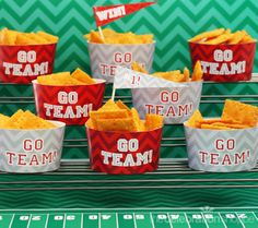 Create a stadium of snack fans for your Super Bowl party from @celebshoppe ~ Free printables coming soon!