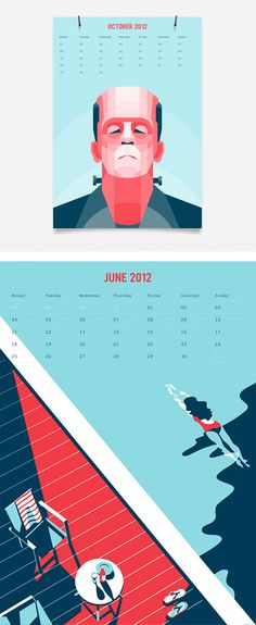 2012 #calendar by Gifted Co. Love the limited color pallet and flat design.