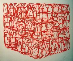 TONY CRAGG, Krüge, Flaschen, Töpfe Drawing Artist, Line Drawing, Red Colour Palette, Observational Drawing, Thing 1, Red Art, Photography Lessons, Cool Sketches, Everyday Objects