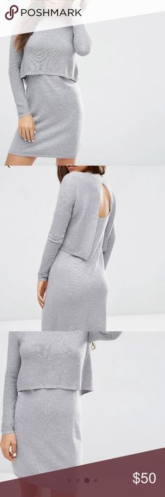 ASOS 2 in 1 Knit Dress in Cashmere Mix the perfect winter dress! super soft and comfy and flattering! NEW WITH TAGS! ASOS Dresses