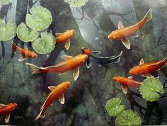 See the Art of Terry Gilecki At Visions Fine Art Gallery, Sedona Arizona. Art Koi, Fish Art, Koi Fish Pond, Fish Ponds, Tattoo Pez, Koi Painting, Fish Paintings, Chinese Painting, Fish Mobile