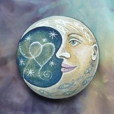 Stone Art Painting, Moon Painting, Pebble Painting, Pebble Art, Rock Painting Patterns, Rock Painting Designs, Stone Crafts, Rock Crafts, You Are My Moon