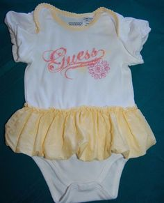 Guess One-Piece Onesie Dress Infant Girls 0-3M Yellow & White w/Yellow Ruffle  #GUESS #Everyday