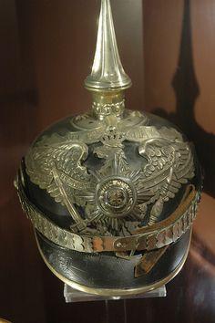 One of exiled Kaiser Wilhelm II's pickeltaube helmet, displayed at Huis Doorn.