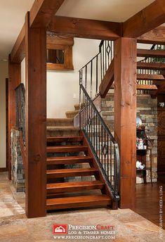 Timber Frame Stairs   Arizona PrecisionCraft Timber Home by PrecisionCraft Log Homes & Timber Frame, via Flickr