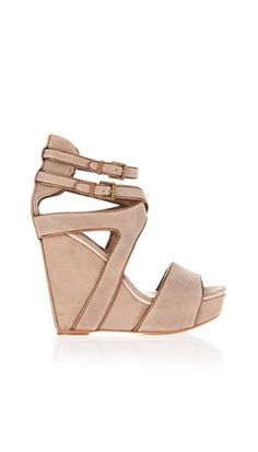 Nude wedges, crazy straps :)