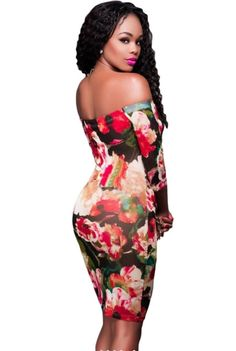 2017 New Autumn Vestidos 3/4 Sleeves Off-shoulder Multicolor Floral Print Dress MC5244 Vintage Bohemian Floral Bodycon Dress