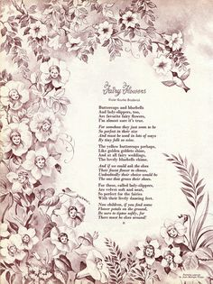 60s Vintage Fairy Poem & Ilustration - Double sided - Fairy Flowers and Trees - 1965 - Wall Art - Poetry on Etsy, $6.00