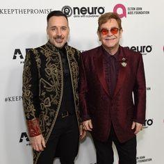 Elton and his husband David at the birthday gala