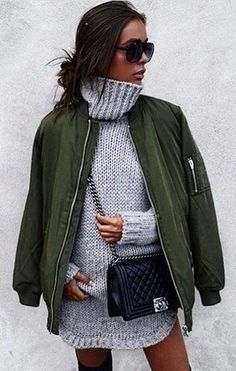 #winter #outfits / Grey Turtleneck Knit // Green Jacket // Black Chanel Leather Bag
