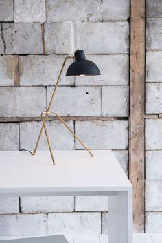 Lambert & Fils Grue-Petite table lamp Brass, powder-coated aluminum In matte black, matte white, or gloss pistachio