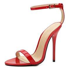 ca73b84f87a9 Unisex Men s Women s Classic Ankle Strap Stiletto High Heel Sandals Red  EU40 - Size 9 M