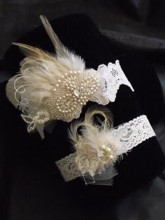 Lace garter, Ivory garter, Hints of Champagne, Feather garter, Pearls, Rhinestone, Vintage Garter,Style B070