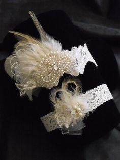 Lace garter, Ivory garter, Hints of Champagne, Feather garter, Pearls, Rhinestone, Vintage Garter,Style B070