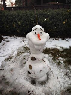 "Nailed it - ""Frozen"" snowman. Olaf. @emilylaura Emily Jaques. Next snowdate, how many years in the future it may be, we will be doing this. :P"